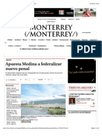 18-09-14 Apuesta Medina a federalizar nuevo penal