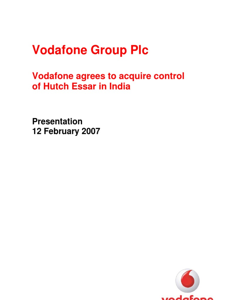 project on merger and acquisition of vodafone and hutch