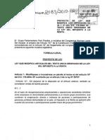 (PL) Modificación TUO del Impuesto a la renta