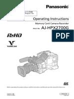 Panasonic Hpx2700 Manual