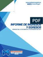 Tesoreria Informe de Ingresos y Egresos Agosto 2014.