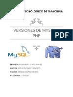 Versiones de Mysql y Php