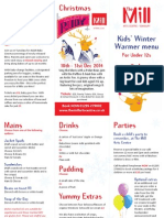 Kids Winter Warmer Menu, The Mill Arts Centre