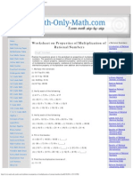 Worksheet on Properties of Multiplication of Rational Numbers _ Answers