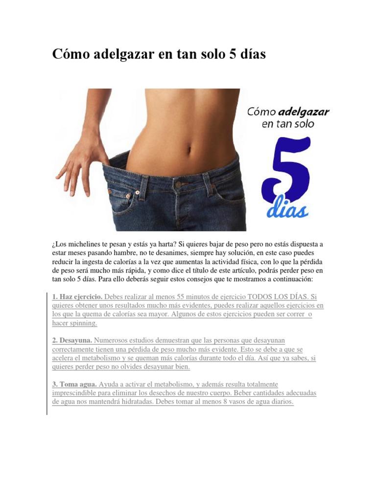 como perder peso en 5 dias