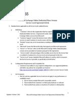 Exchange Online SLA_Office 365 Dedicated Plans_Oct 2012