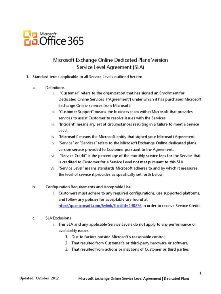Exchange Online SLA_Office 365 Dedicated Plans_Oct 2012 | Service