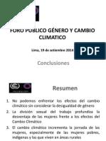 Conclusiones del Foro Público Género y Cambio Climático