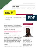 [Amnesty] I am proof. Torture exists.