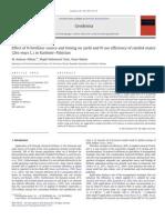 Efectos de La Fertilizacion Nitrogenada y Uso Eficiente de Nitrogeno en Maiz de Temporal