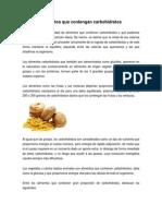 Alimentos Que Contengan Carbohidratos