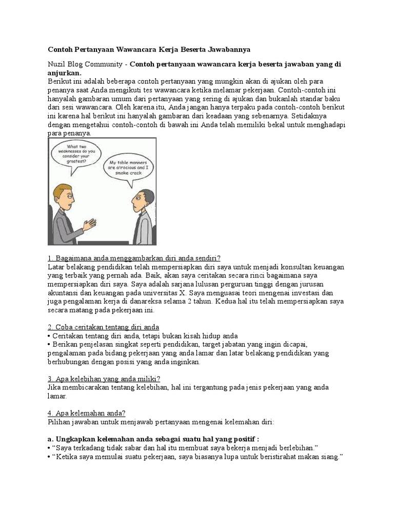 Contoh Pertanyaan Wawancara Kerja Beserta Jawabannya