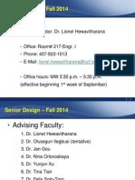 Senior DesignI Fall 2014 Introduction