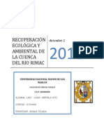 Plan de Recuperación Ecológica y Ambiental de La Cuenca Del Río Rimac (Lima, Perú)