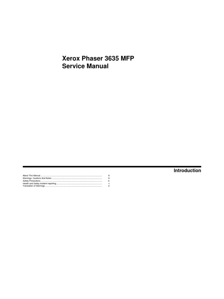 Xerox Phaser 3635 MFP Service Manual