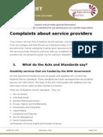 Factsheet Complaints About Service Providers