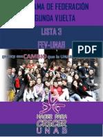 Programa de Federación 2° Vuelta - Lista 3 FEV-UNAB