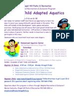 Parent Child Adapted Aquatics Fall 2014