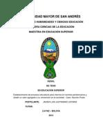 Perfil de Tesis en Educación Superior Postulante Javier Justiniano