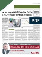 Desde Hoy Rentabilidad de Fondos de AFP Puede Ser Menos Volátil_Gestión 30-09-2014