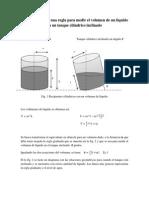 Graduación de una regla para medir el volumen de un líquido en un tanque cilíndrico inclinado