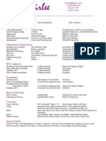 Ian Fairlee Theatrical Resume (Updated September 27 2014)