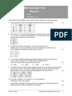 Mid Sem Test Phy Grade Xi
