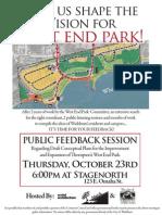 West End Park- Public Feedback Session