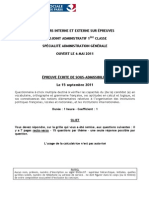 ADJOINT ADMINISTRATIF Epreuve Ecrite de Sous Admissibilite 2011 CONCOURS
