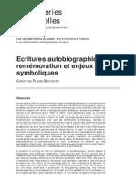 Ecritures Autobiographiq...n Et Enjeux Symboliques