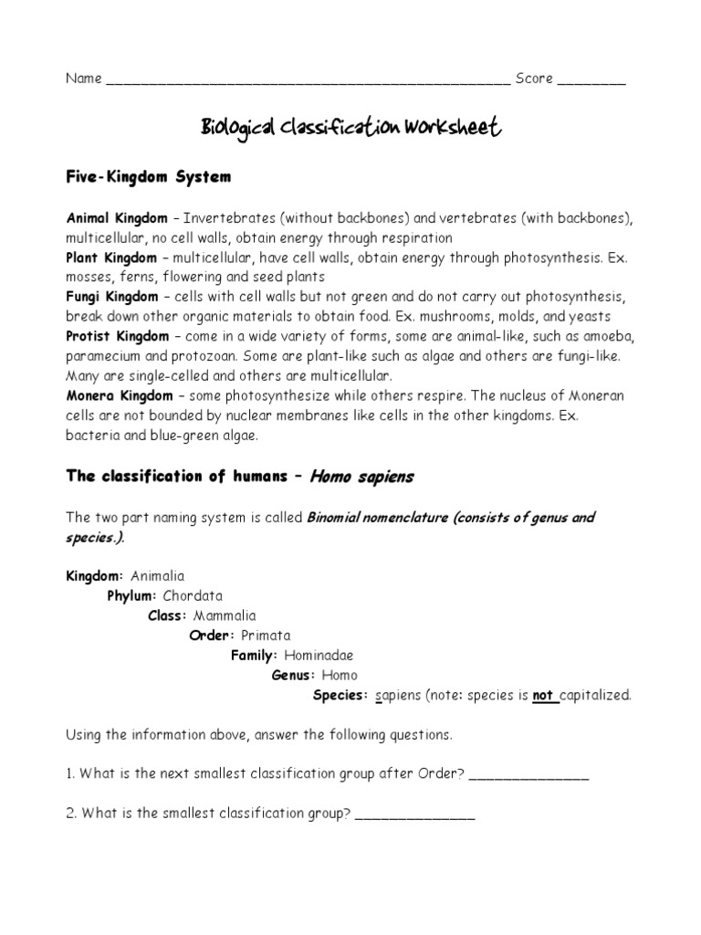 Classification Worksheets Taxonomy Biology – Classification Worksheet