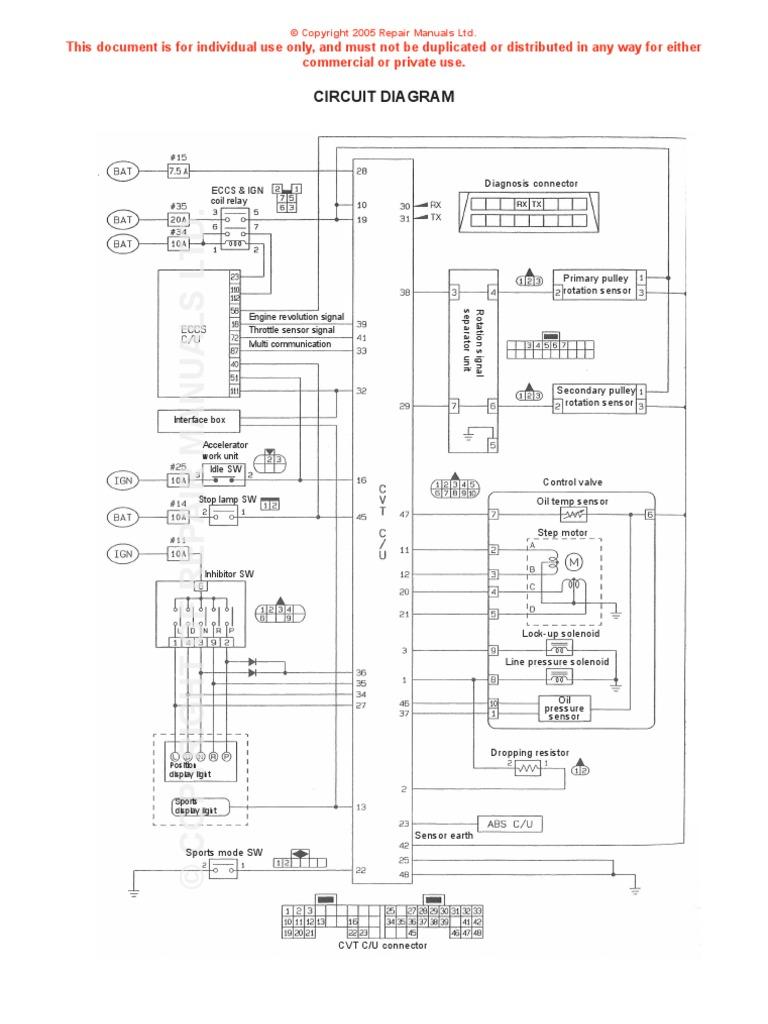 nissan cvt wiring diagram throttle electrical components rh scribd com Nissan Altima CVT Transmission Warranty Nissan Parts Diagram