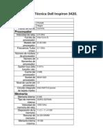 Ficha Técnica Dell Inspiron 3420