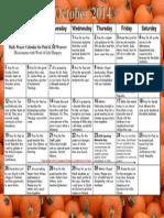 Weaver Prayer Calendar October 2014