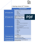 Schedule for Hastings Shoot [31st Oct - 2nd Nov]