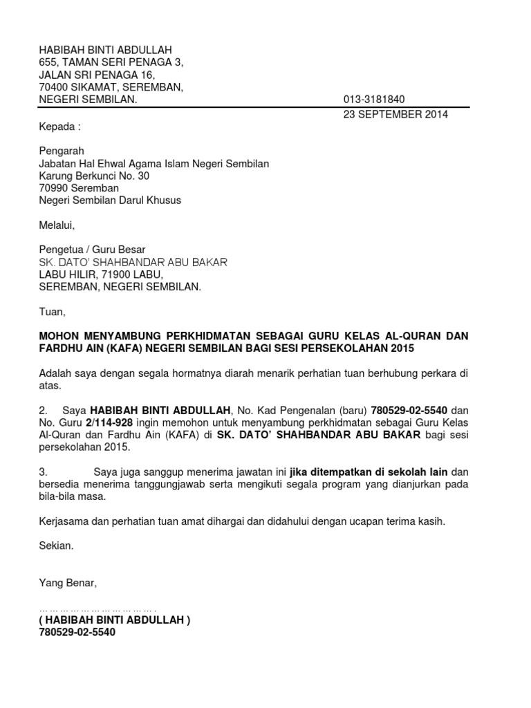 Surat Rasmi Permohonan Lanjutan Kontrak Selangor N