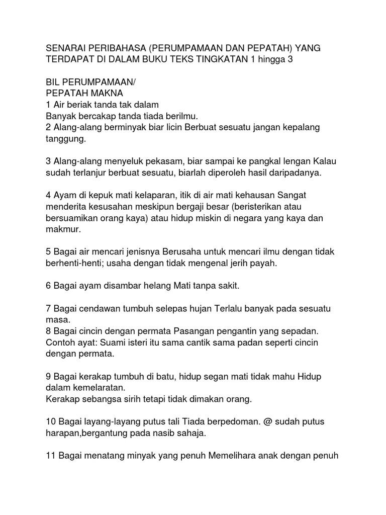 Senarai Peribahasa