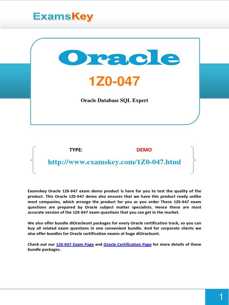 1z0 0471 Oracle Database Sql
