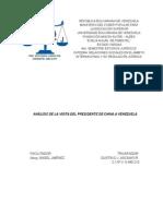 Trabajo Escrito Analisis de La Visita Del Presidente de China a Venezuela - Julio 2014