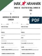 SOLICITUD PARA SOLICITAR BAJAS, CAMBIOS DE DÍAS O AUSENCIAS DEL SERVICIO DE COMEDOR