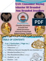 Analysis Consumer Buying Behavior of Branded and Non Branded jewellery