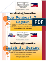 Certificate of Top Ten 1st Grading