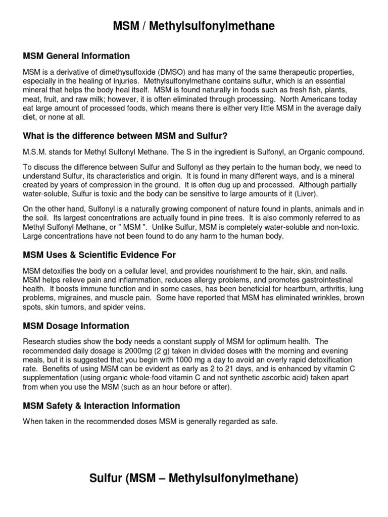 MSM-Sulfur-MSM-–-Methylsulfonylmethane pdf | Sulfur | Vitamin C
