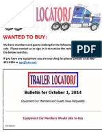 Wanted to Buy Bulletin - October 1, 2014