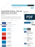 Social Media Colours Hex and Rgb