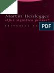 ¿Que Significa Pensar? - Heidegger