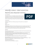 grade 8 literacy - nonfiction reading and argument writing