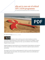 Exclusive - India Set to Run Out of Critical Free Drug for HIV AIDS Programme