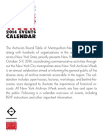 2014 New York Archives Week Events Calendar (Revised)