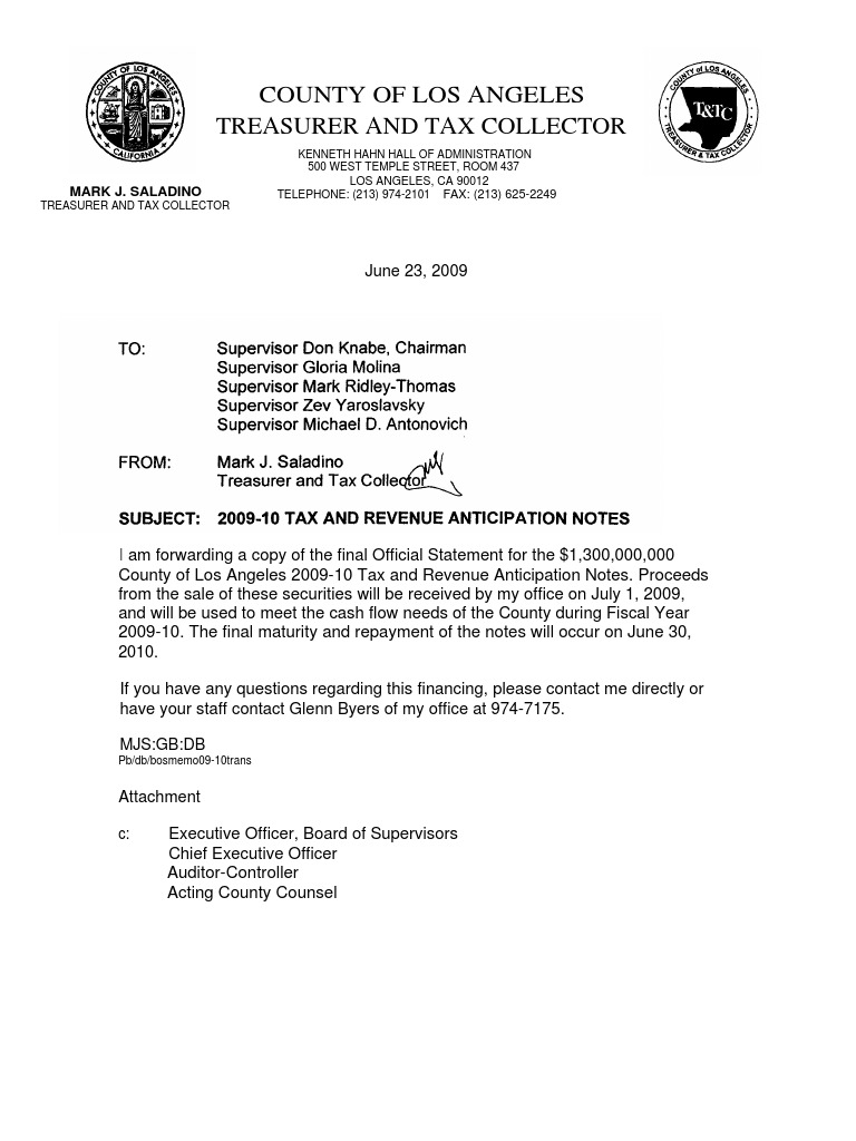 2009 6 23 La County Treasurer Letter Re Purpose Of Trial Court